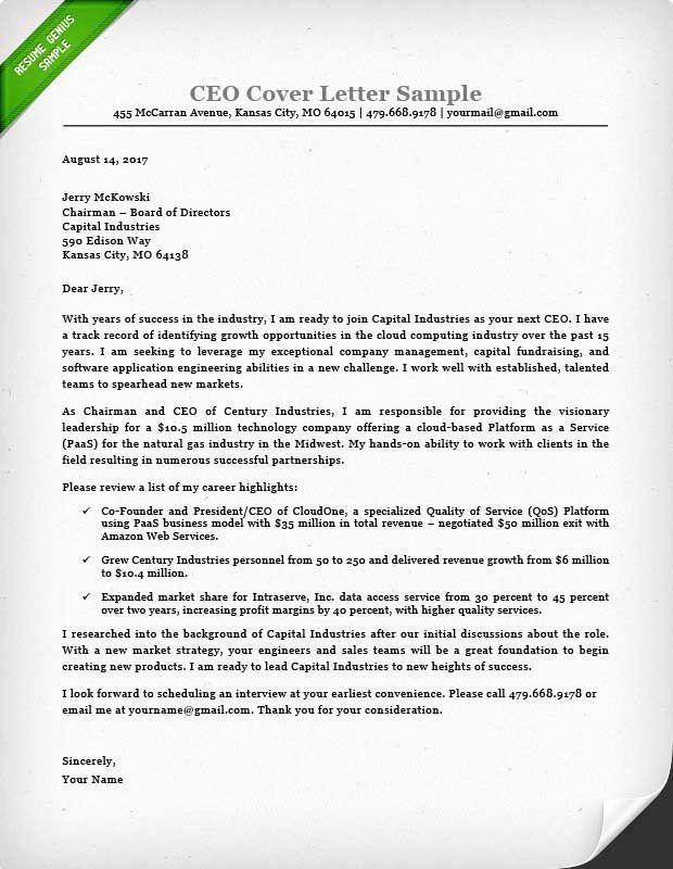 Executive Resume Cover Letter Fresh Executive Cover Letter Examples Ceo Cio Cto Cover Letter For Resume Cover Letter Example Letter Example