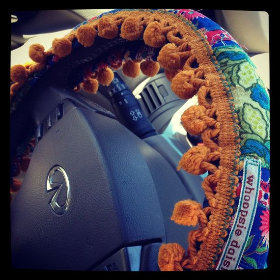 Hippie Chick Steering Wheel Cover by whoopsiedaisies on Etsy.