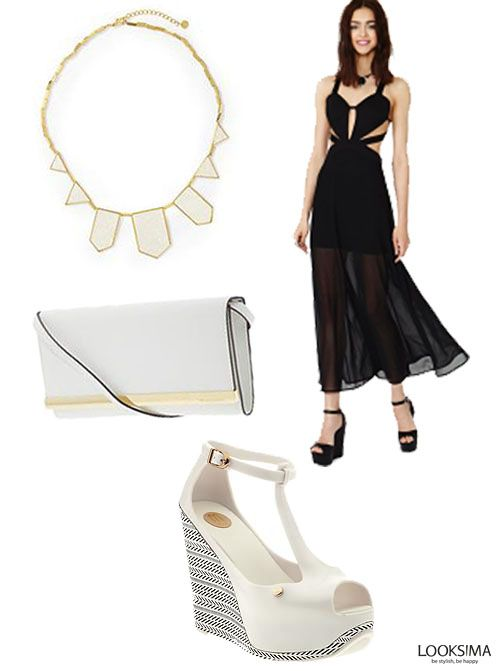 This look exudes classy with a hint of sexy. Paired with an elegant MICHAEL by Michael Kors clutch and a House of Harlow necklace, you'll be set for an evening out!