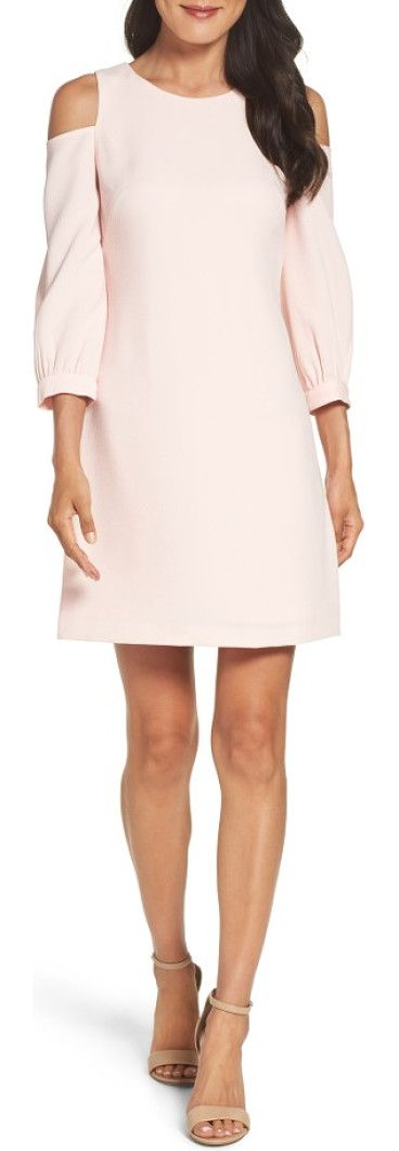 cold shoulder shift dress by Eliza J. Striking cutouts and a comfortable silhouette make this stretch-crepe dress a must-have.