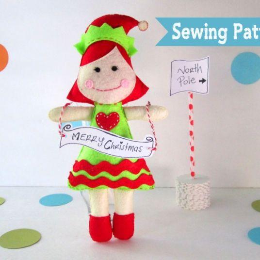 Felt Elf Toy, Elf Doll Pattern,  Instant Download A1131