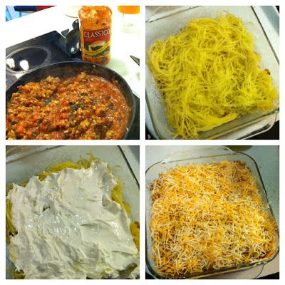 Spaghetti Squash Casserole |made this tonight!!! Only used 1/4 cup of cheese- used almond milk and not all the block of cream cheese to cut back the calories (and I used 1/3 fat free) also used 2 spaghetti squashes and added onions and peppers
