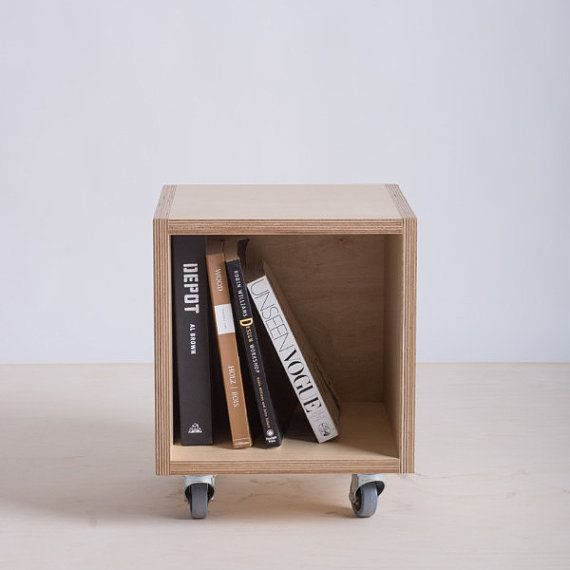 Storage Box / Bookshelf on Wheels  Baltic Birch by bee9designshop
