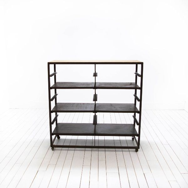 Industrial Bakers Rack | Back Bar | Wood & Metal Barware | Birch & Brass Vintage Rentals | Weddings and Corporate Events | Austin, Texas
