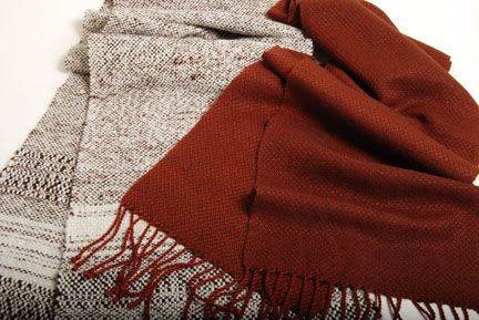 These bulky scarves would be perfect to weave before the cold weather sets in, and what a wonderful way to use up some of your handspun yarn!