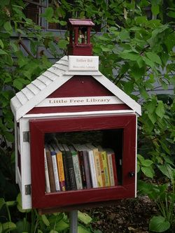 Put a little case for your used books in front of your house. People can take what they like, maybe leave you something, too! I AM IN LOVE.