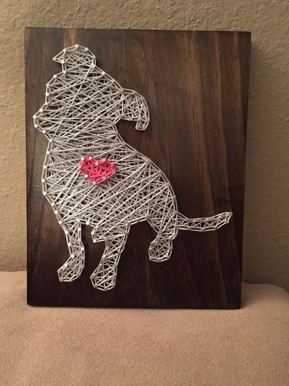 MADE TO ORDER Pitbull String Art Wooden Board by StringSimply. Great for any dog lover!!