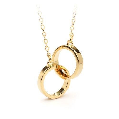Designer Inspired Interlocking Circles Pendant Gold Plated