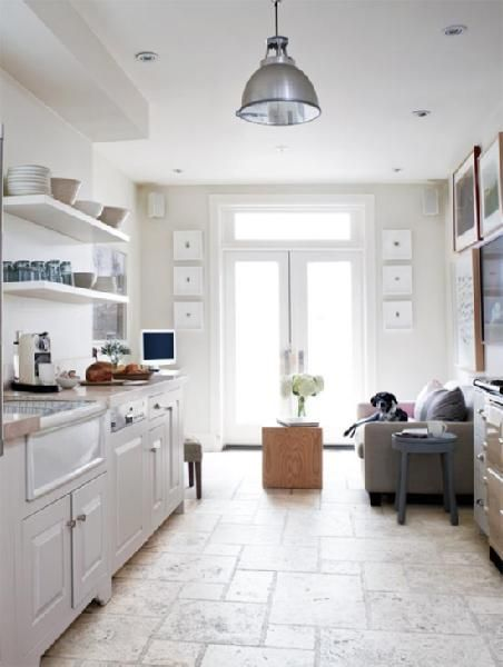 cosmiccowgirl: Style at Home - Erin McLaughlin - open shelving, white, farmhouse sink, industrial ...