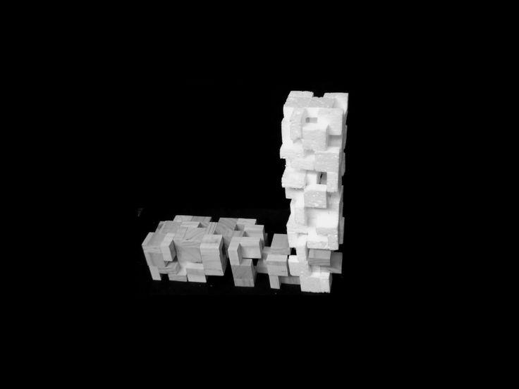 """compocision y plastica, la union de piezas en forma de """"L"""" (concepto: la degradacion a partir del modulo)"""