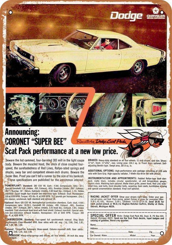1968 Dodge Coronet Super Bee Scat Pack Vintage Look Metal Sign Etsy In 2020 Muscle Car Ads Mopar Car Ads