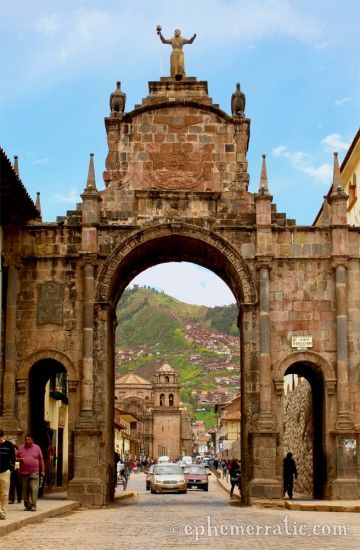 The view to the hills through Arco Santa Clara in charming, colonail Cusco, Peru. Every street had something beautiful to look at!