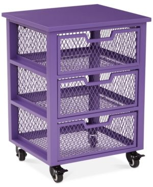 Atwell 3-Drawer Rolling Storage Cabinet, Quick Ship - Purple