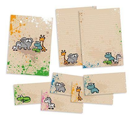 Set Briefpapier für Kinder | Safari-Tiere | Schreibblock DIN A4 mit 25 Blatt, 15 Briefumschläge DIN lang, hochwertige Mappe