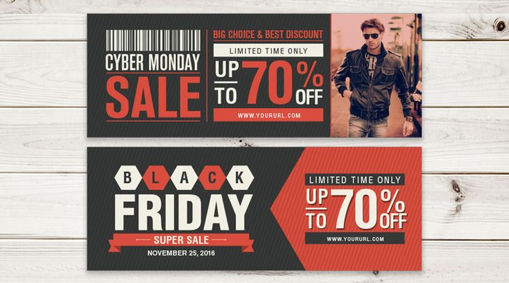 Black Friday & Cyber Monday Web Banners in Ai, EPS, CDR & PDF Format
