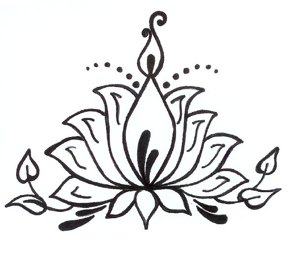Gallery For gt Lotus Flower Drawing Henna