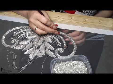 Golden knickers sequin application using a tambour hook - YouTube