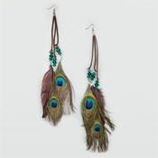 FULL TILT Suede Cord Stone & Feather Earrings - Multi     $9.99