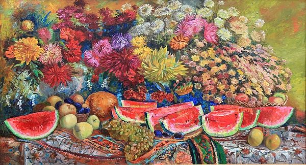 WATERMELON SYMPHONY by MAYA GUSARINA.  Belongs to the galery RUSSIAN ARTISTS NEW WAVE.   Watermelon Symphony is the essence of the joy of being.  Red watermelon chunks, like a melody written in C major, creating a mood of life celebration.  #RussianArtistsNewWave  #MayaGusarina #StillLife #HighEndArt #OriginalArt #OriginalArtForSale #Flowers #WaterMelon #LifeCelebration #Colorful #ArtForSale #ArtForHome #Painting #Autumn #Abundance