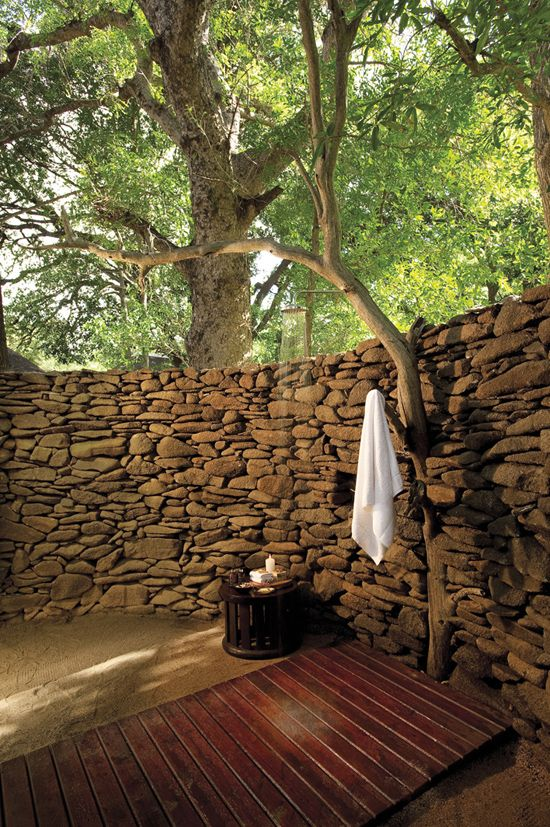 The outdoor shower at Lion Sands River Lodge, Sabi Sand, Mpumalanga, South Africa.  Sure Travel Blog: Top 10 Baths with a View in South Africa