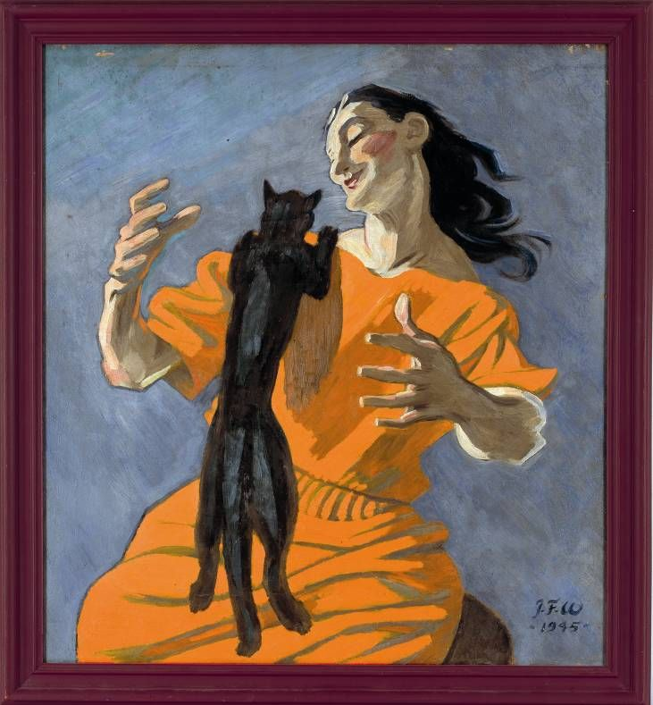 J.F. Willumsen, Woman plays with a cat, 1945, oil on canvas, 60 x 55 cm. J.F. Willumsen Museum, Frederikssund, inv. nr. 246 (© VG Bild-Kunst, Bonn 2011)
