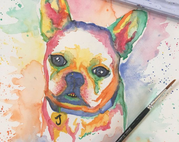 Josephine the French Bulldog - Custom Watercolor Pet Portraits from Pretty Poppy by Sally