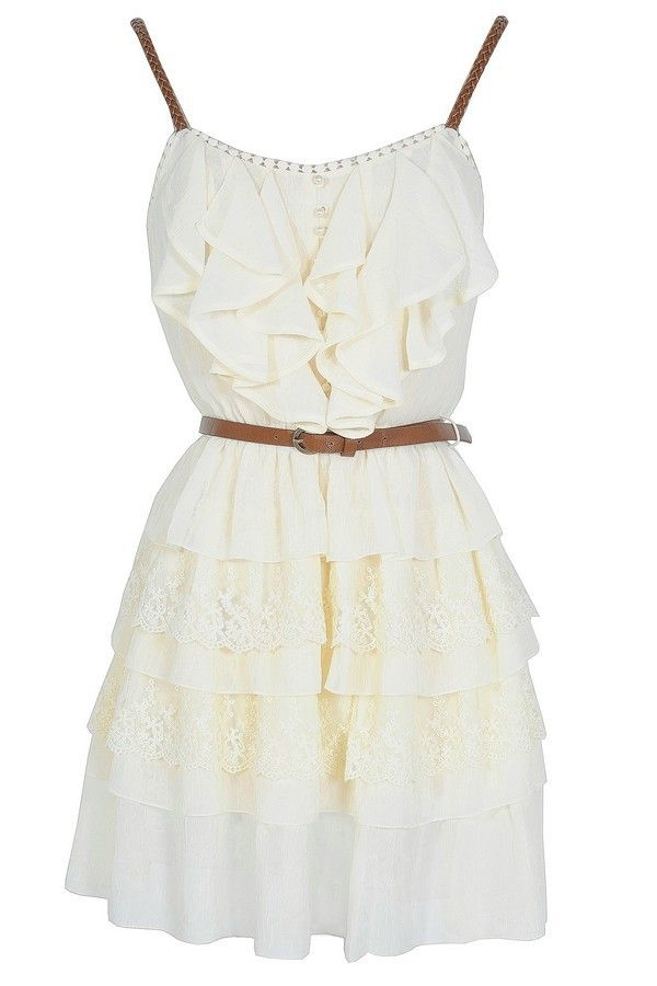 Nashville Nostalgia Belted Ruffle Dress in Ivory  www.lilyboutique.com