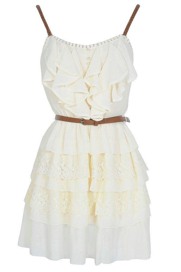 Nashville Nostalgia Belted Ruffle Dress in Ivory  www.lilyboutique.com