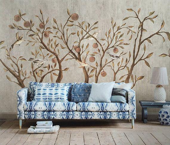 Fliegende Vögel in Pflaumenbäume Tapeten Wandbild Malerei Kunst Oriental Style Schlafzimmer Wohnzimmer Kamel Apricot Khaki helles Taupe 55,5 x 35