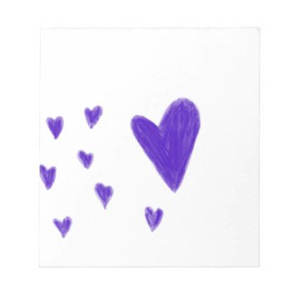 Purple hearts notepad - drawing sketch design graphic draw personalize