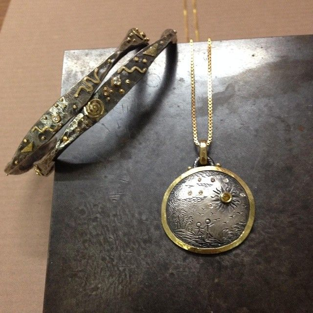 54 best custom made pendants necklaces images on pinterest 18k left square shaped bangles crafted in oxidized sterling silver accented with gold and diamonds right pendant made in same mixed metals accented with aloadofball