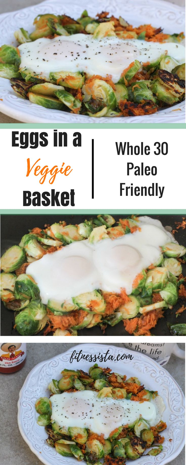 Eggs in a basket of brussels sprouts and sweet potato - drippy yolks running all over that veggie goodness! :) fitnessista.com