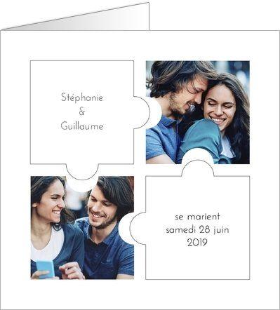 Nouvelle Collection 2016 de Faire-part de Mariage : Puzzle. Disponible en 3 formats et à personnaliser sur Popcarte.com