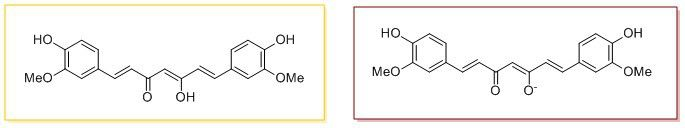 Scheme 1: The two forms of curcumin. Yellow (left) below pH 7.5, shown as the enol form, red (right) at a pH above 7.5.