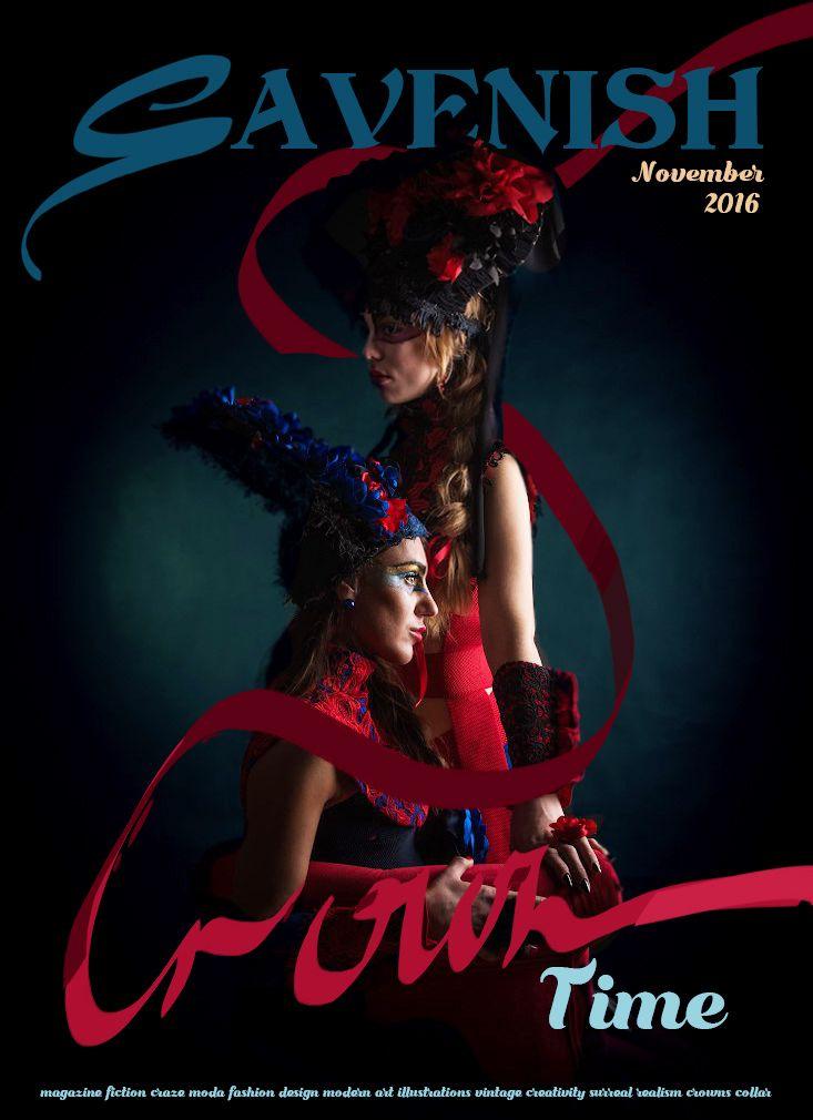 Fashion magazine.Irina Savina. Crown, fabric flowers, collar, Russian fashion