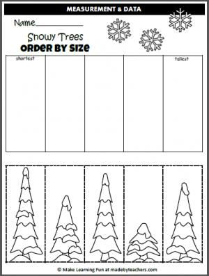 Free Winter Order By Size Activity. Cut and paste the trees in order by size.
