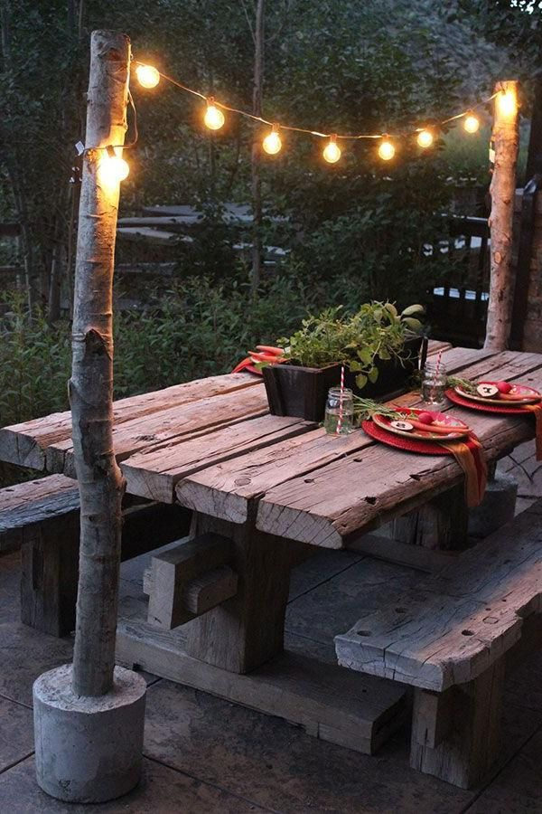 String Lights Outdoor Pole : Unique DIY String Light Poles with Concrete Base String lights Pinterest String lights ...
