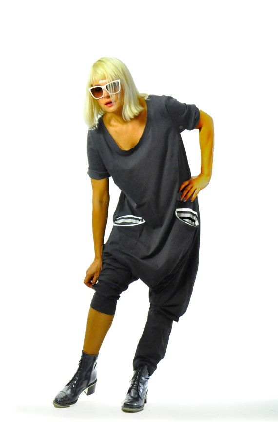 Black Harem jersey Jumpsuit/Women casual by Gabygaclothes on Etsy