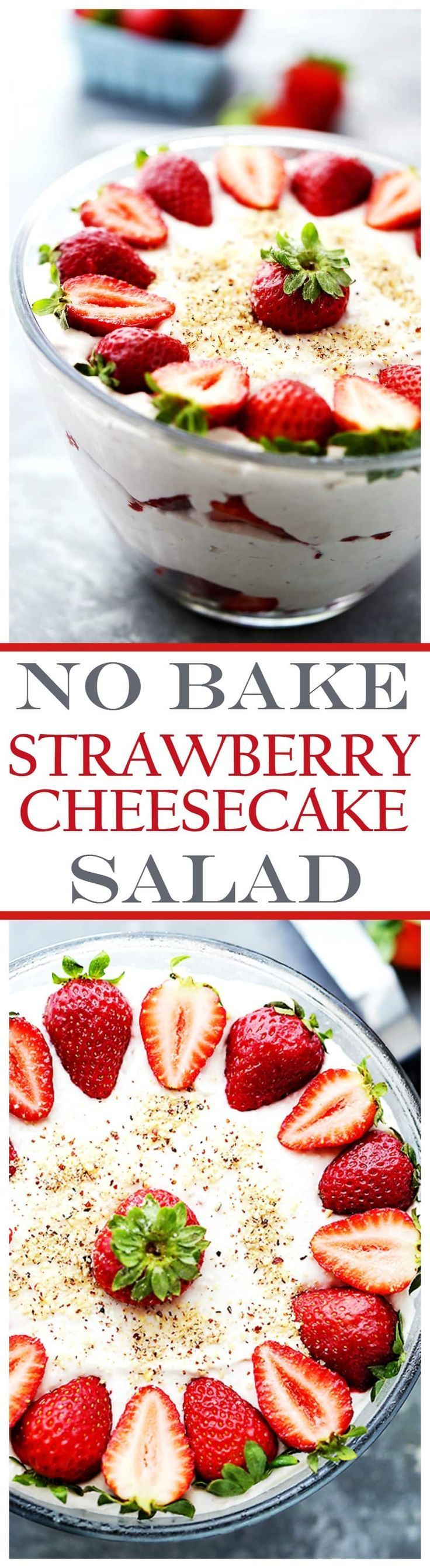 No-Bake Strawberry Cheesecake Salad - Delicious, creamy, light no-bake dessert that's perfect for your Summer parties! No oven needed and everyone always asks for more!