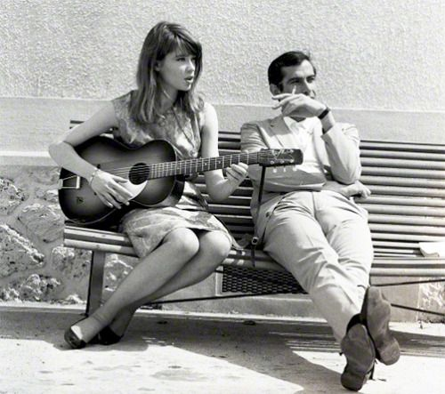 """Françoise Hardy with director Roger Vadim photographed by Vittoriano Rastelli on the set of his movie """"Château en Suède"""", 1963-1"""
