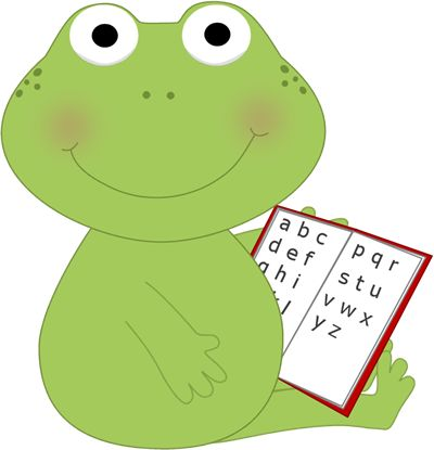 Frog Clip Art | Frog Reading Clip Art Image - frog sitting with a book in its…