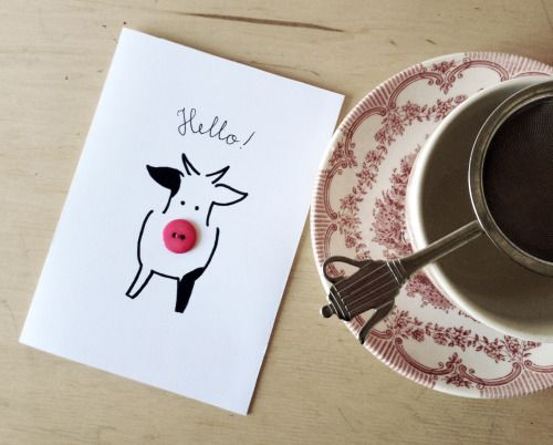 Button postcard with a cow. Hello! Handmade by Imelda