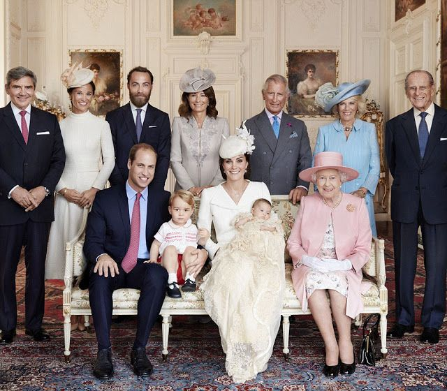 Back row (L-R) Michael Middleton, Pippa Middleton, James Middleton, Carole Middleton, Prince Charles, the Duchess of Cornwall, the Duke of Edinburgh. Front row (L-R) Prince William, Prince George, the Duchess of Cambridge with Princess Charlotte and the Queen