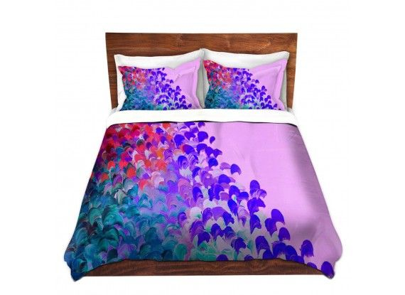Ebi Emporium Duvet Covers and Pillow Shams, Artist Julia DiSano on Dianoche Designs, Creation in Color Very Berry, Colorful Whimsical Abstract Painting Designer Bedroom Bedding Home Decor Dorm Room Style #purple #lavender #lilac #magenta #teal #pink #blue #berry #mixedberry #jeweltone #splash #ocean #waves #ombre #brushstrokes #fun #happy #boldcolors #colorful #abstract #art #fineart #homedecor #decor #bedroom #bedding #pillow #shams #duvet #duvetcover #dorm #style #elegant