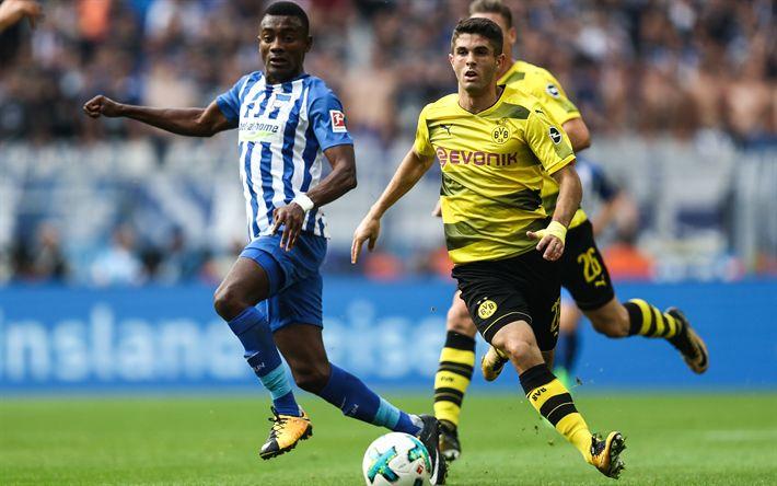 Download wallpapers Christian Pulisic, Borussia Dortmund, American football player, Bundesliga, football, 4k, Salomon Kalou