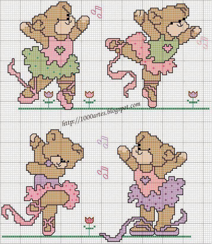 Essas ursinhas são as preferidas da minha amiga bordadeira Perlu...e ficam lindas.