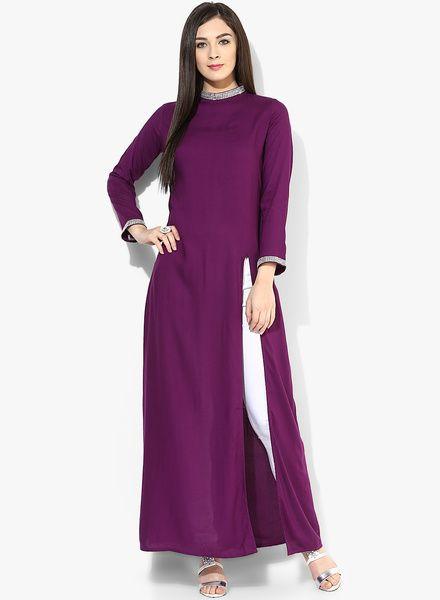 Castle Purple Solid Front Slit Kurta #Castle #Purple #Slit #Maxi