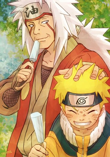Jiraya Sensei & Naruto / Naruto (Day 51: An Anime That Changed Your Outlook) ---> I'm not finished with the series, but, honestly, seeing what all the characters go through and how they continue rising up, inspires me.