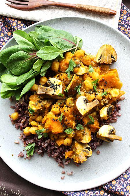 Curry Vegetariano de Abóbora, Grão-de-bico e Cogumelo