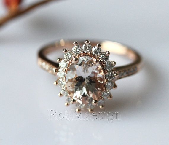 14K Rose Gold 79mm Oval cut Ring Natural Morganite and diamonds. $846 Fancy by RobMdesign